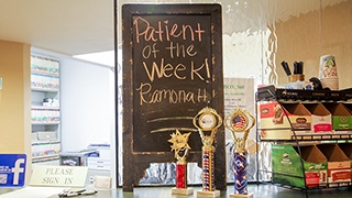 Patient of the week announcement and drink bar