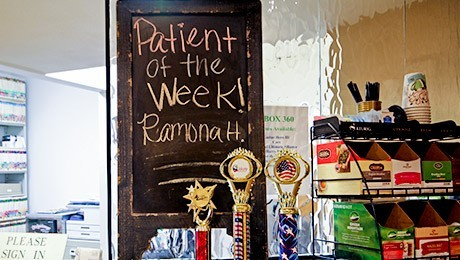 Patient of the week and drink station