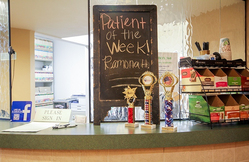 Patient of the week sign and drink bar